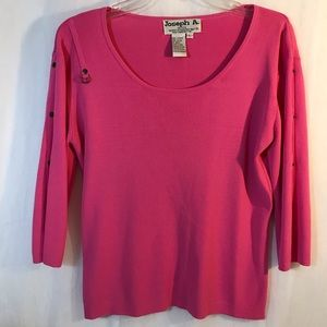 Joseph A. Pink Sweater with 3/4 sleeves